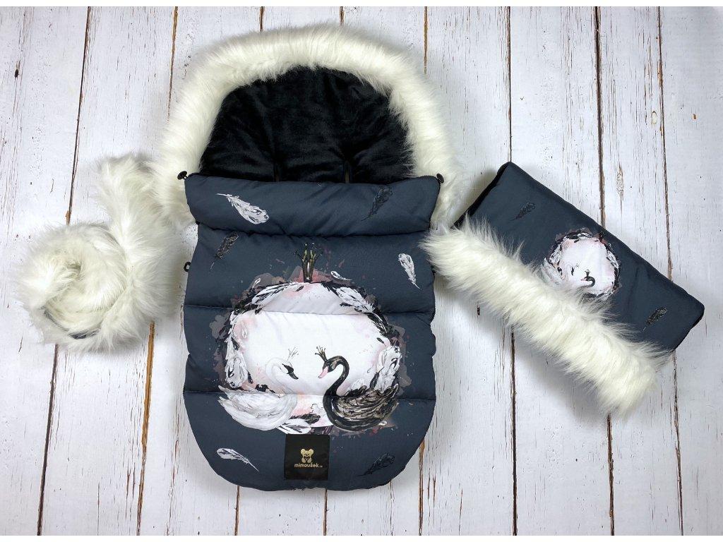 Zimní fusak Mimoušek labutě black&white  + doprava zdarma
