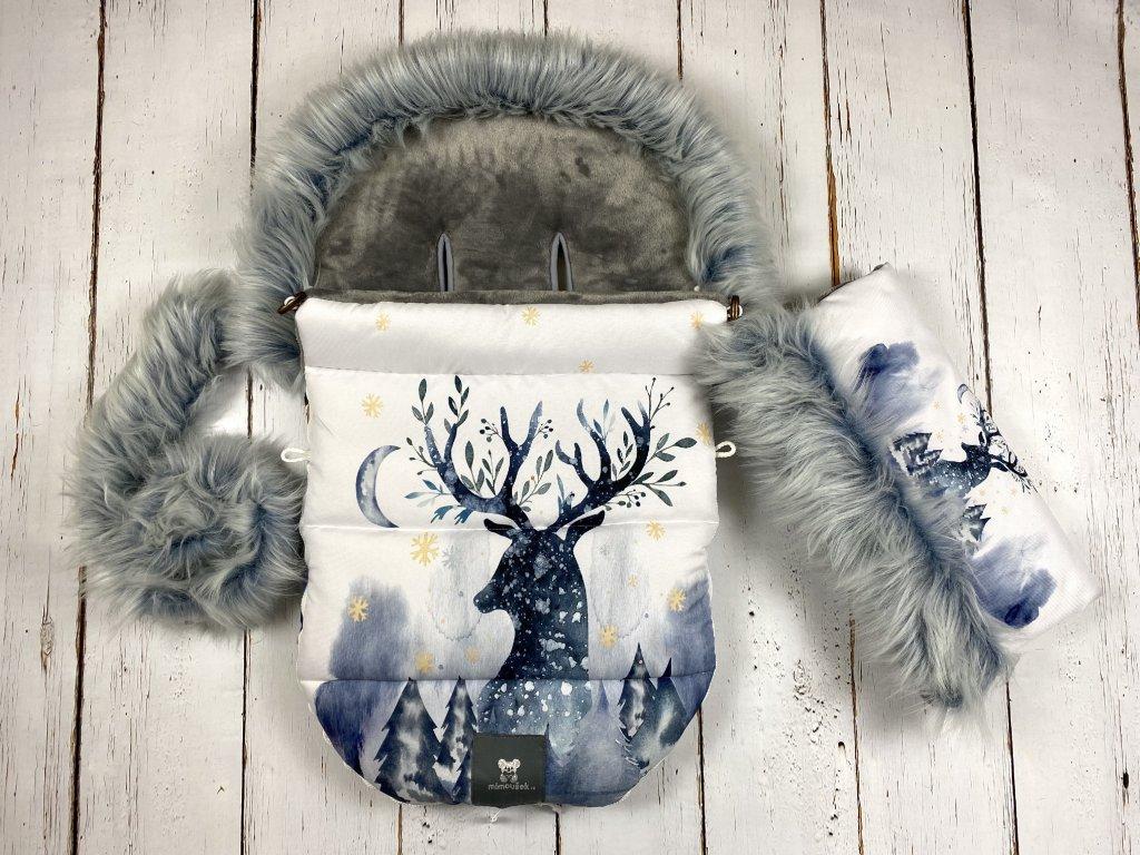 Zimní fusak Mimoušek jelen s měsícem set  + doprava zdarma