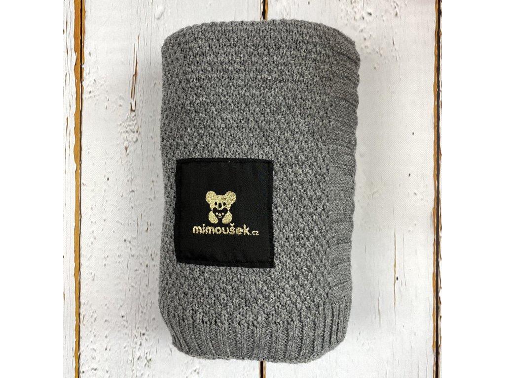 Mimoušek pletená deka šedá