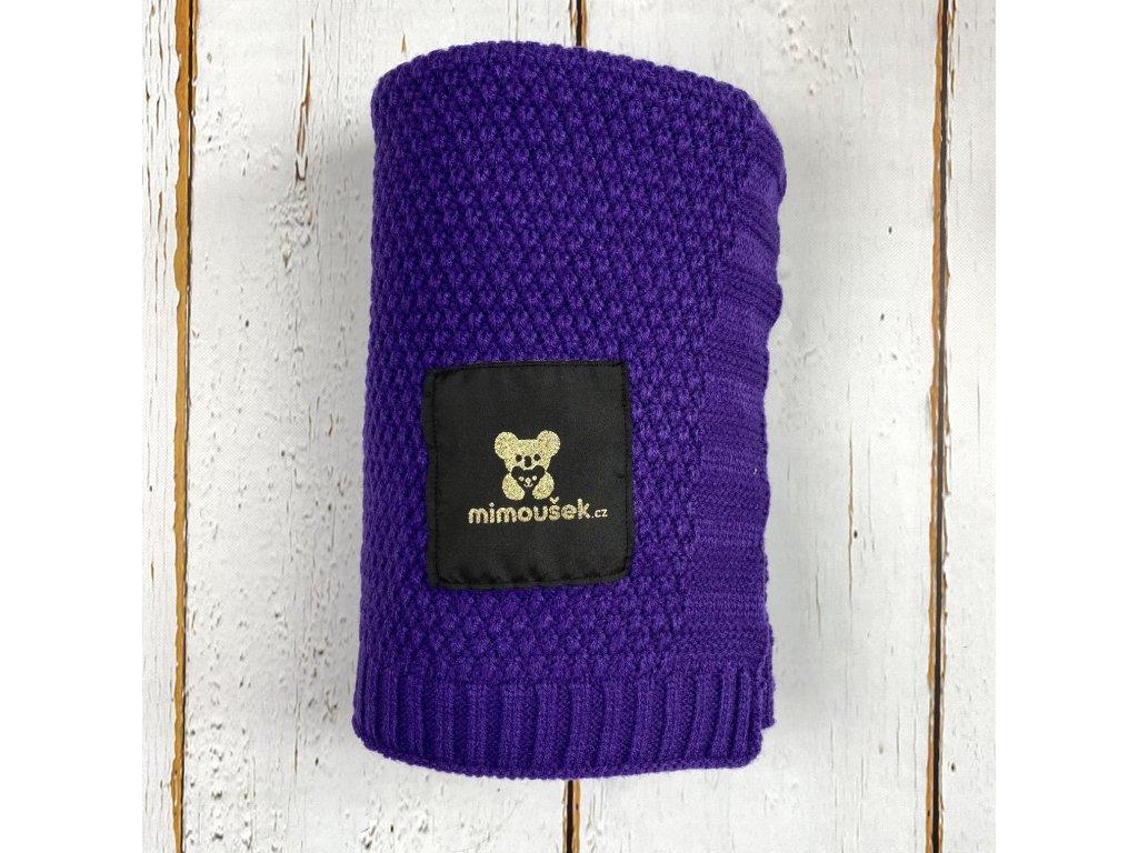 Mimoušek pletená deka fialová