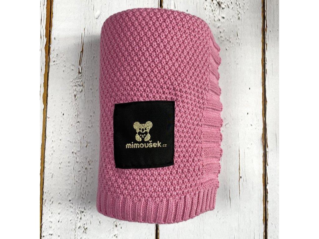 Mimoušek pletená deka růžová