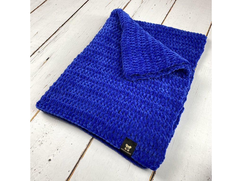 Mimoušek háčkovaná deka královská modrá