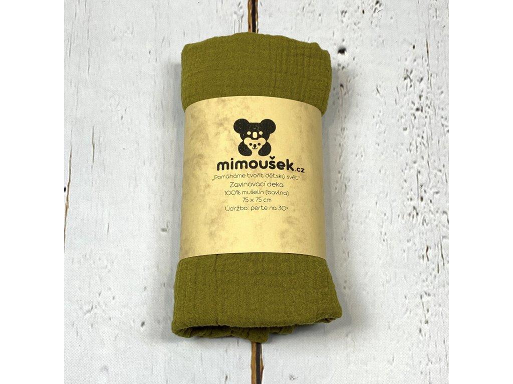 Mušelínová deka/plena oliva