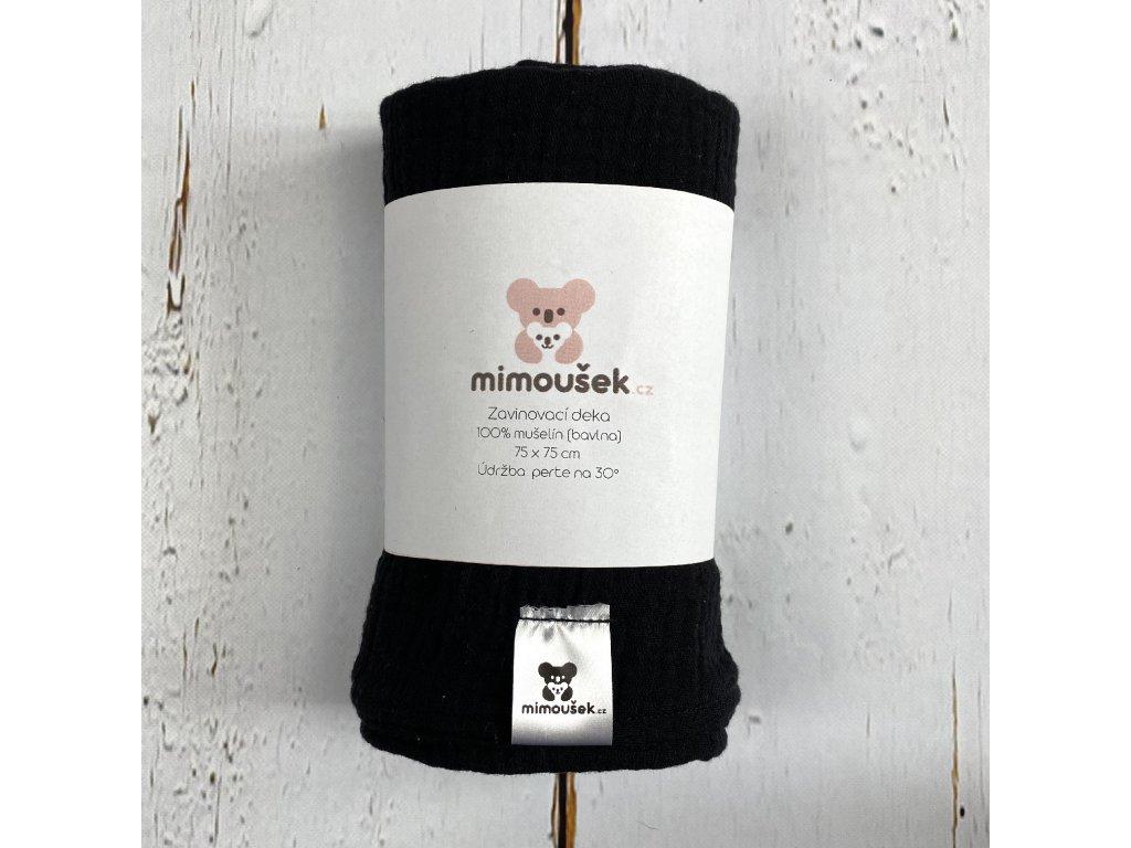 Mušelínová deka/plena černá