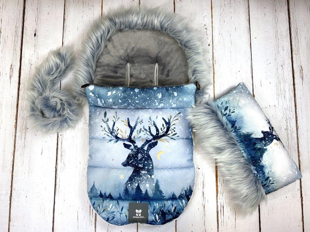 Zimní fusak Mimoušek jelen s měsícem na modré set