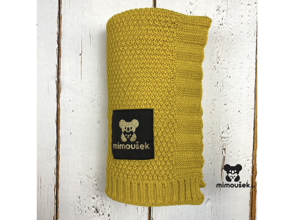 Mimoušek pletená deka hořčice