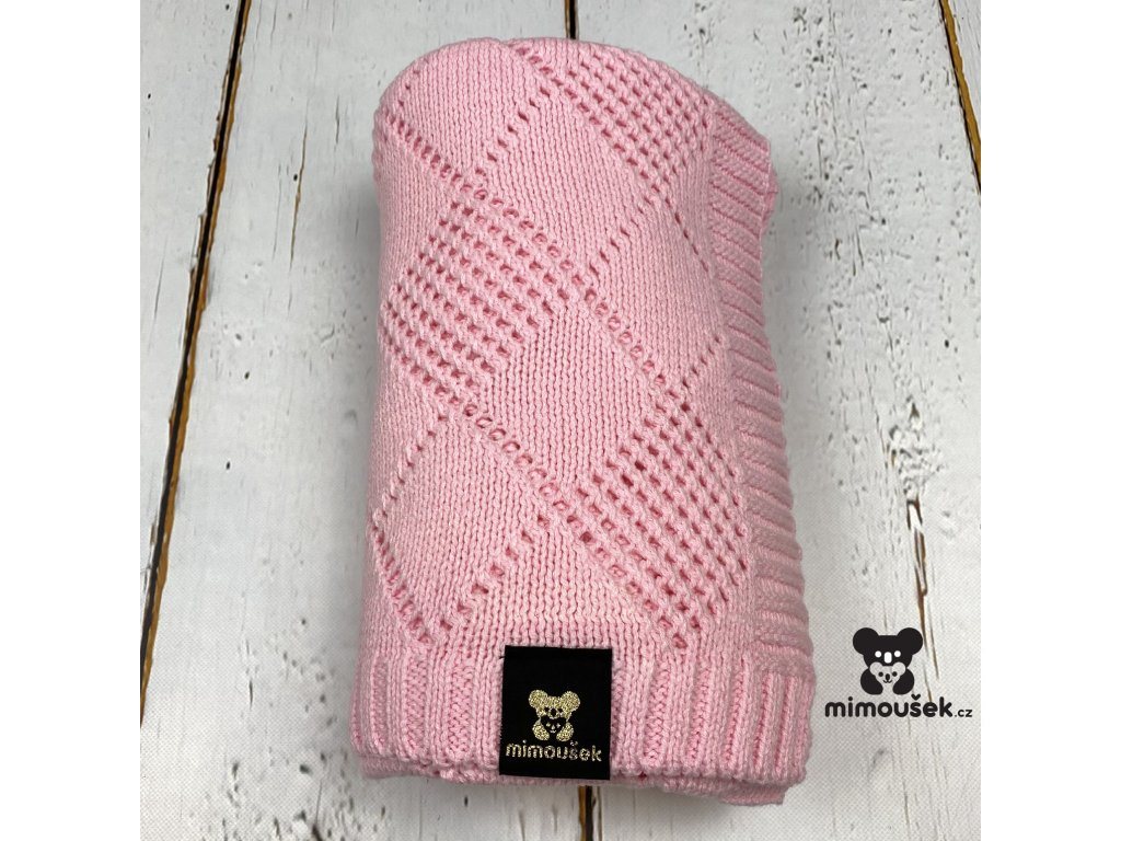 Mimoušek pletená deka vzor růžová