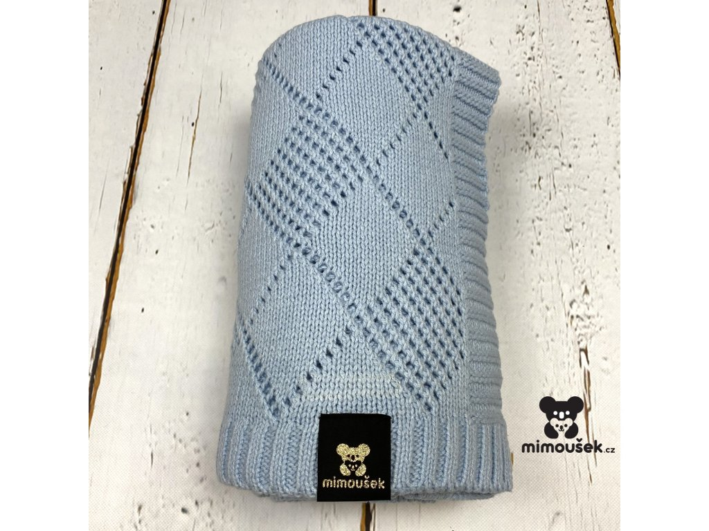 Mimoušek pletená deka vzor modrá