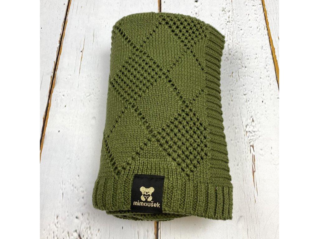 Mimoušek pletená deka vzor khaki
