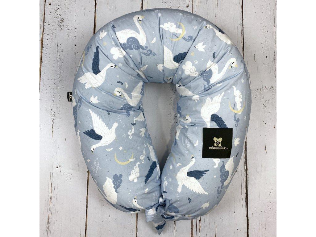 Kojící polštář MAXI printed labutě magic blue
