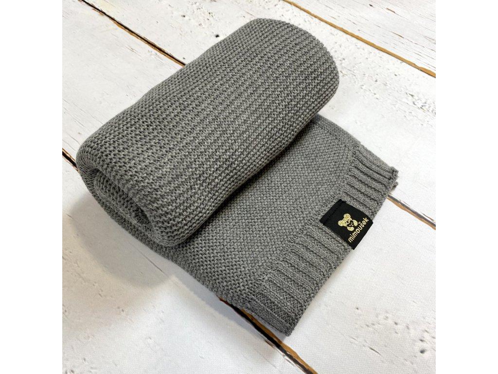 Mimoušek pletená deka 100% bavlna šedá