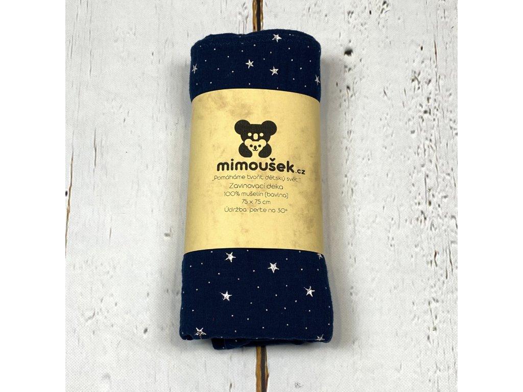Mušelínová deka/plena královská modrá hvězdy
