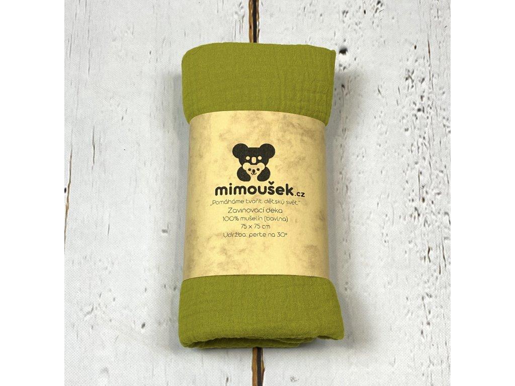 Mušelínová deka/plena jablečná zelená