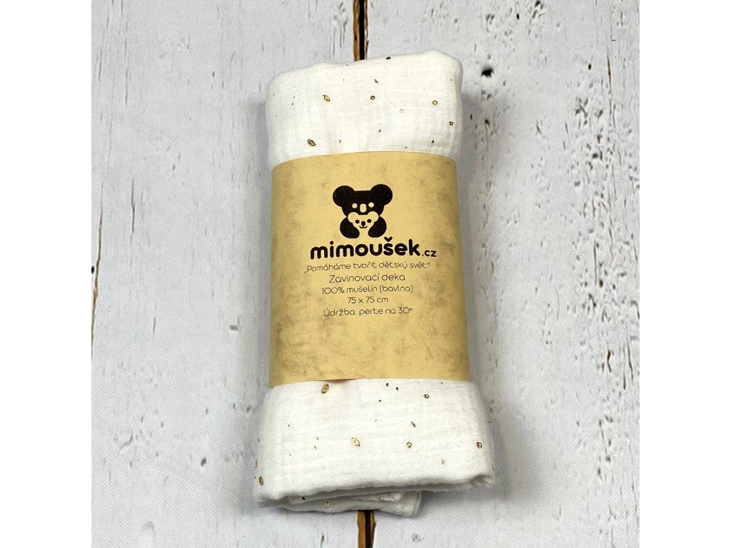 Mušelínová deka/plena bílá tečky