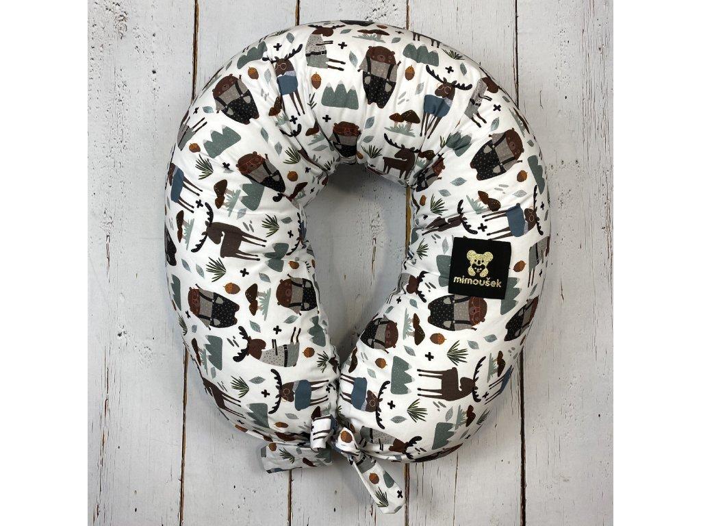 Kojící polštář MAXI printed lesní zvířátka 1  + dárek muchláček a doprava zdarma