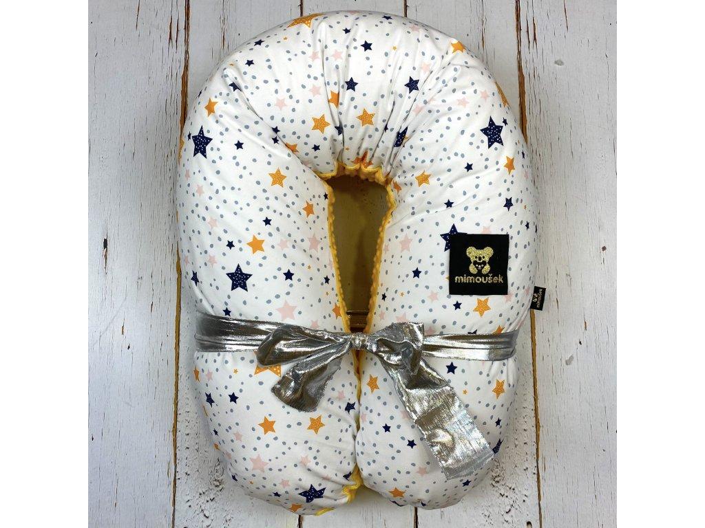 Kojící polštář MAXI jin jang barevné hvězdy zlatý déšť minky
