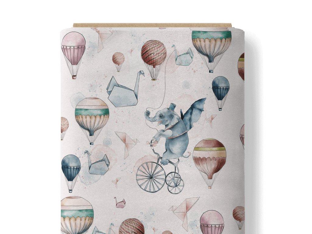 Látka bavlněné plátno 153 g premium slůně a balóny