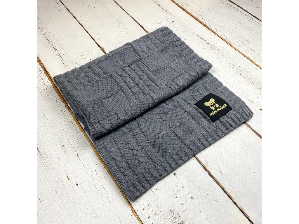 Mimoušek pletená deka vzor 1 grafit
