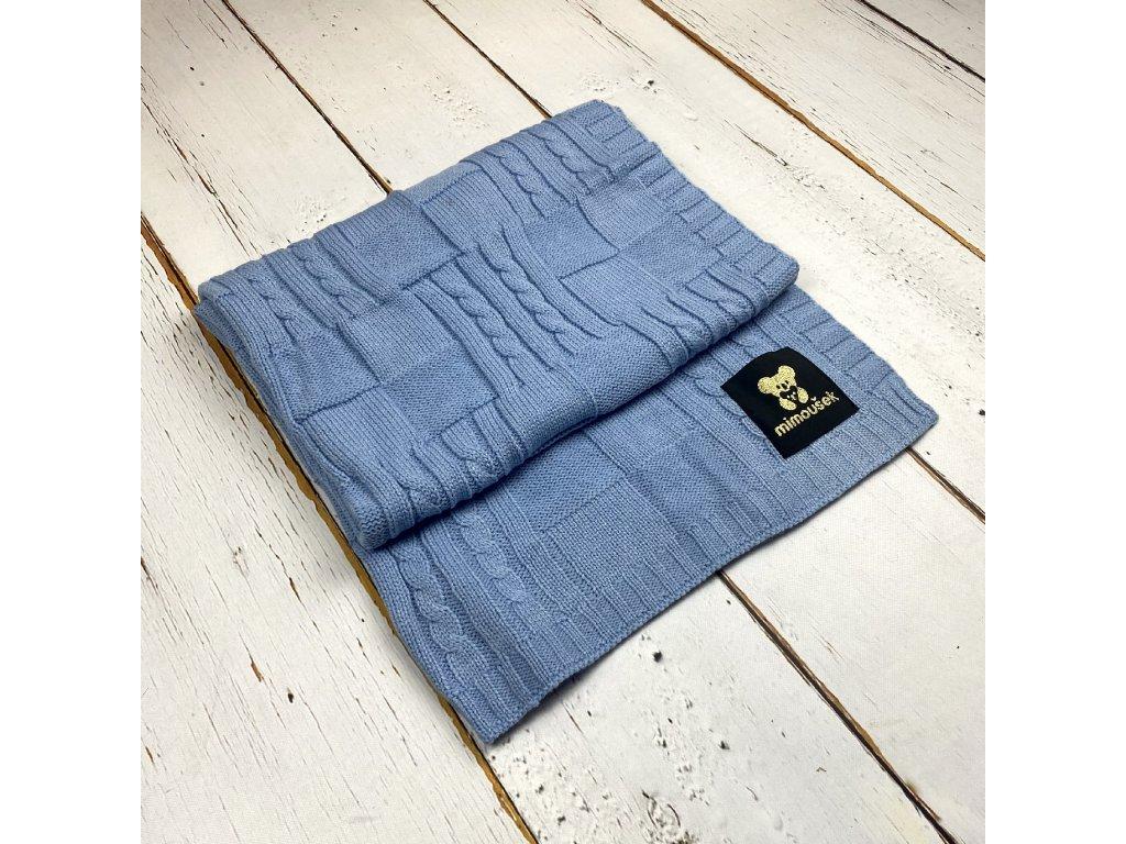 Mimoušek pletená deka vzor 1 modrá