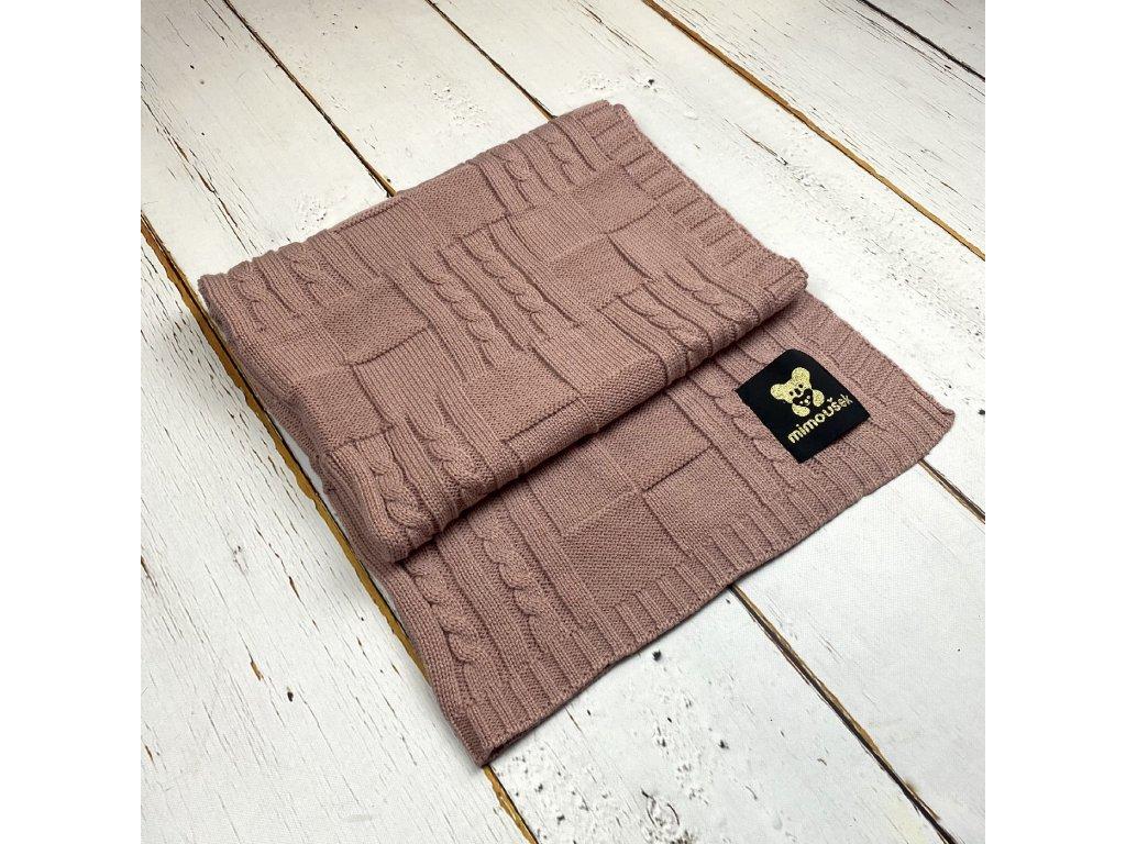 Mimoušek pletená deka vzor 1 starorůžová