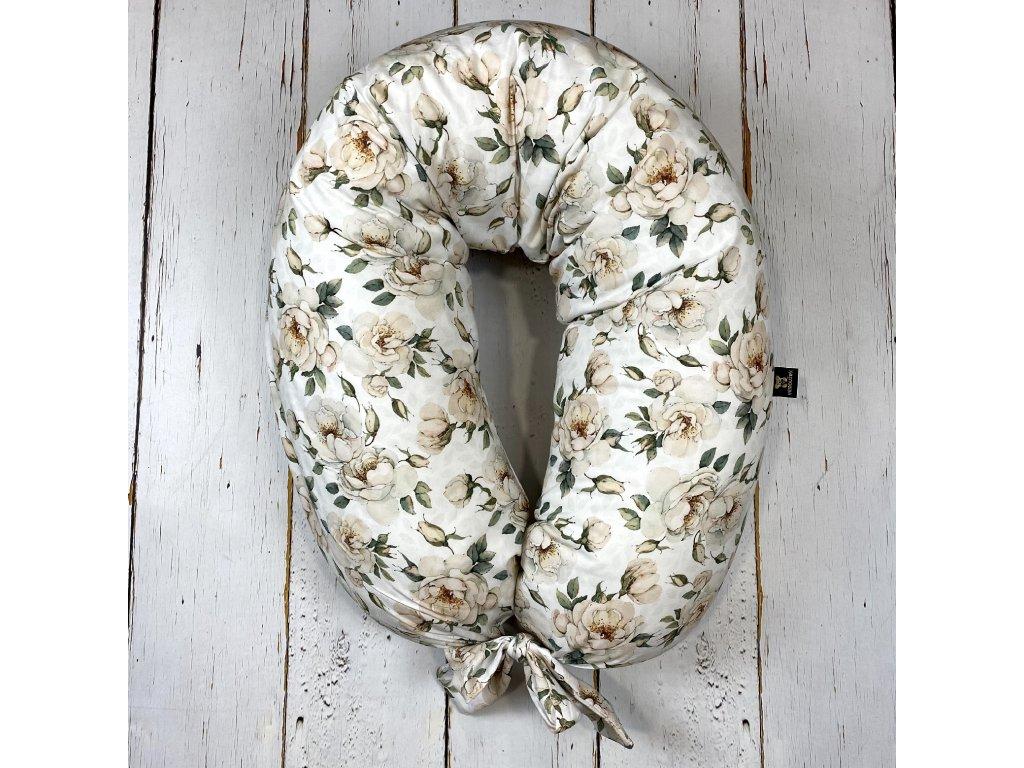 Kojící polštář MAXI printed bílé květy