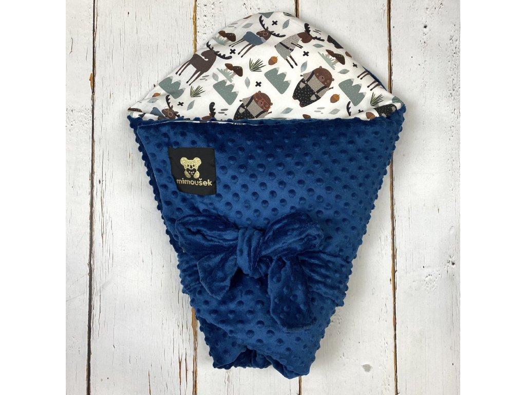 Péřová zavinovačka Mimoušek lesní zvířátka 1 minky královská modrá