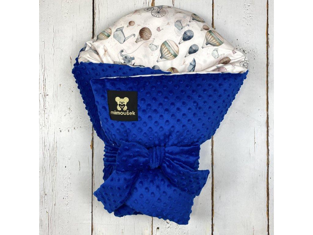 Péřová zavinovačka Mimoušek slůně a balóny minky victoria blue