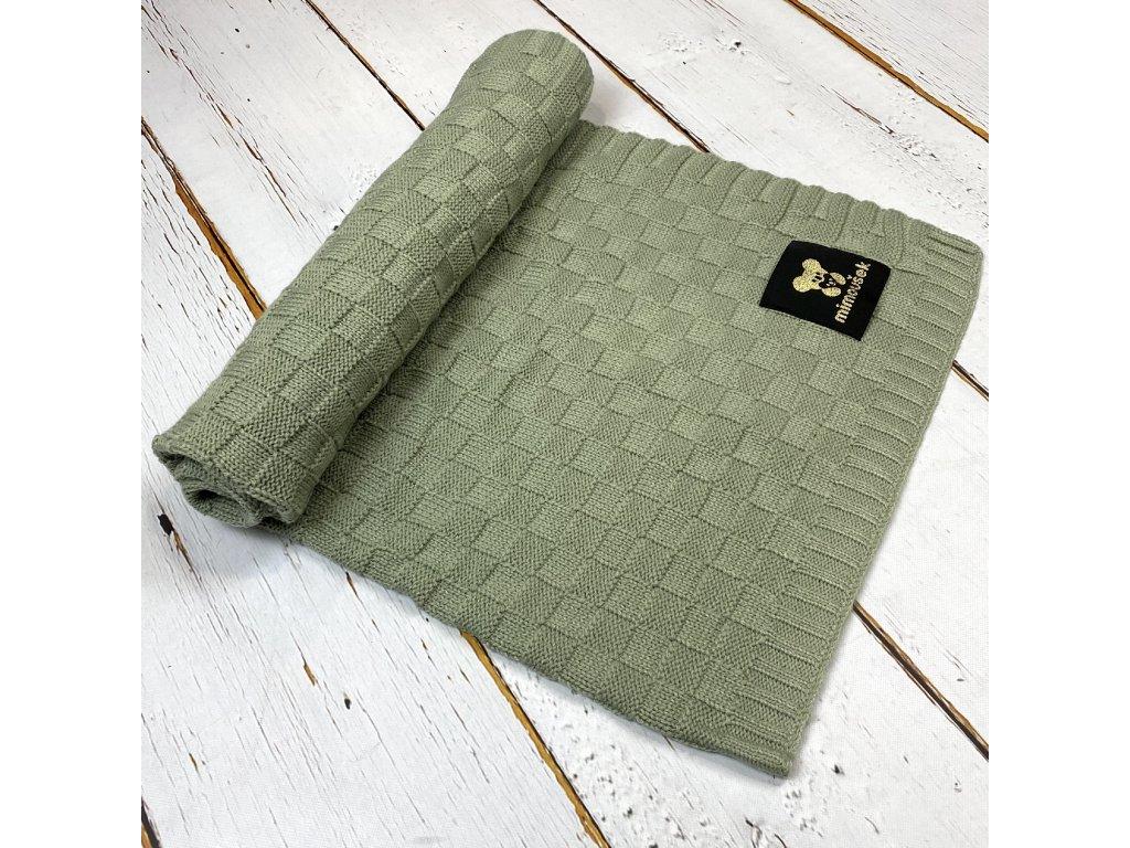 Mimoušek pletená deka vzor 2 khaki