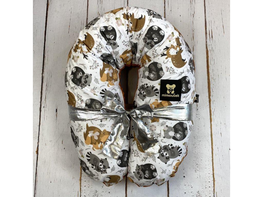 Kojící polštář MAXI jin jang lesní zvířátka chai tea minky