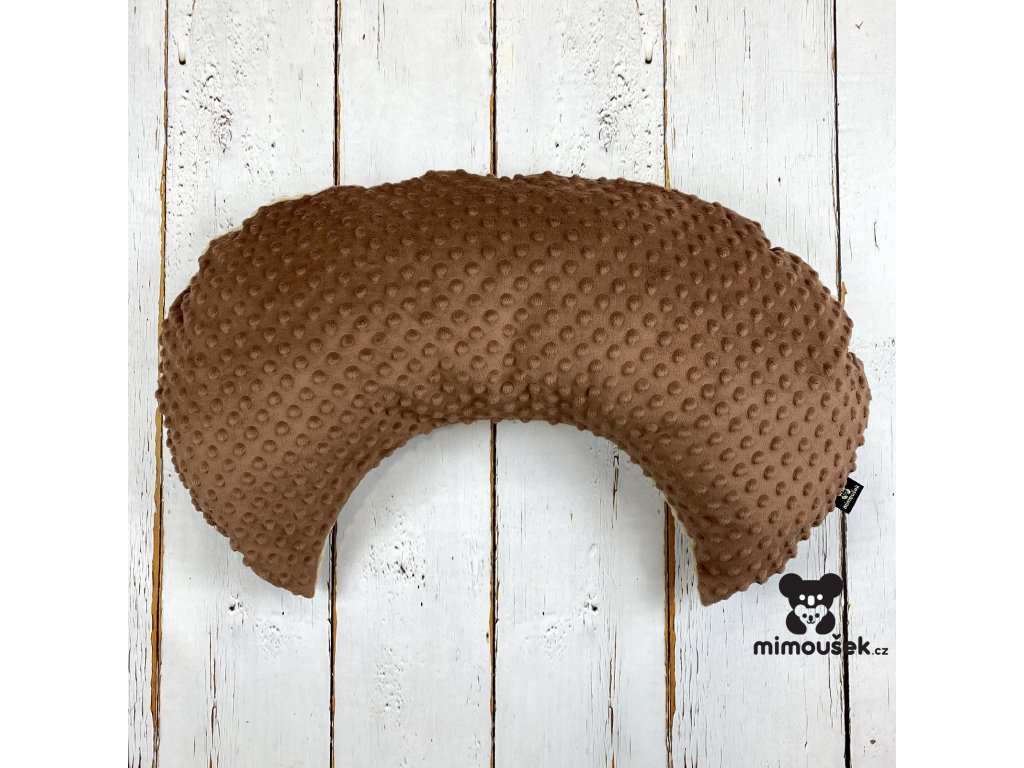 Kojící polštář MOON cappuccino mocha coffee minky