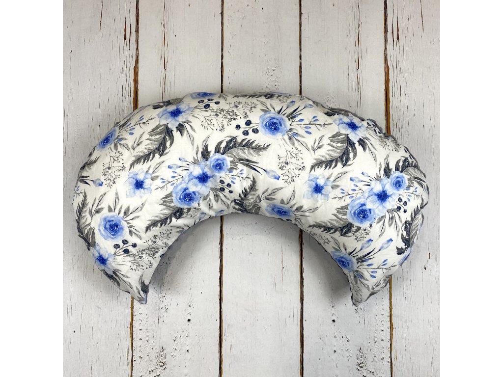 Kojící polštář MOON blue flowers šedá minky