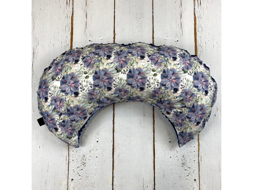 Kojící polštář MOON purple flowers královská modrá minky