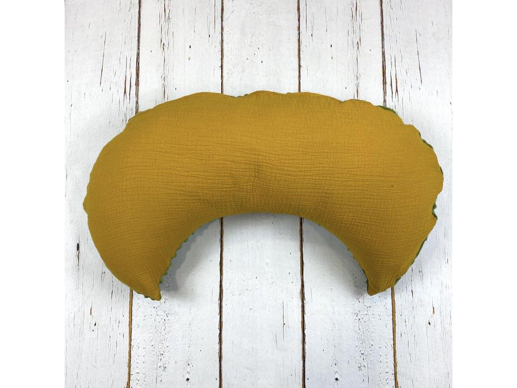 Kojící polštář MOON mango mojito mušelín oliva minky