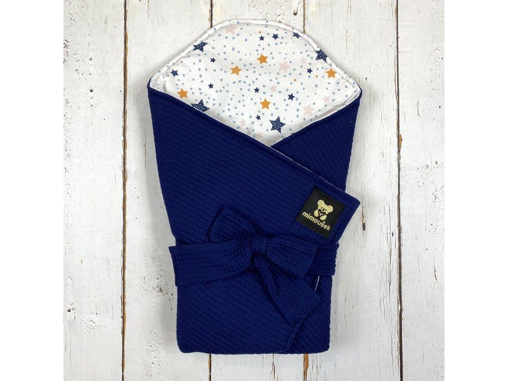 Lehká zavinovačka Mimoušek vafle královská modrá barevné hvězdy
