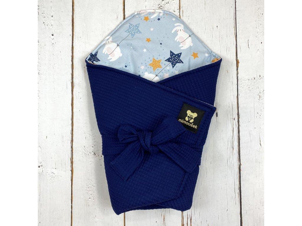 Lehká zavinovačka Mimoušek vafle královská modrá zajíčci