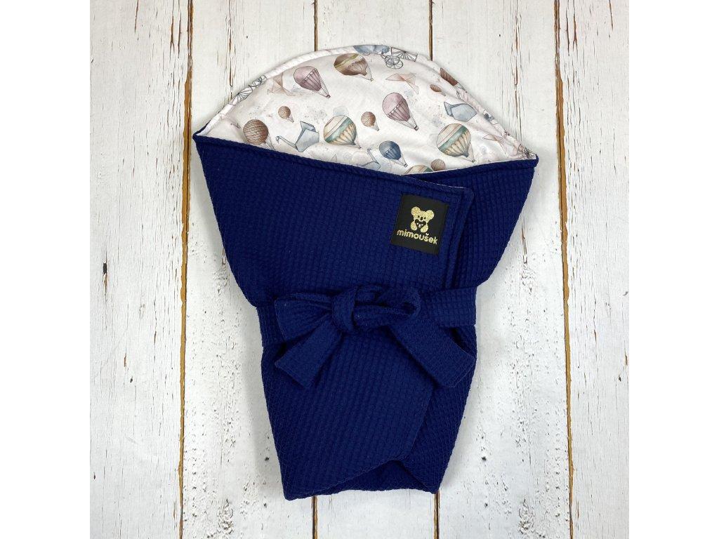 Lehká zavinovačka Mimoušek vafle královská modrá slůně a balóny