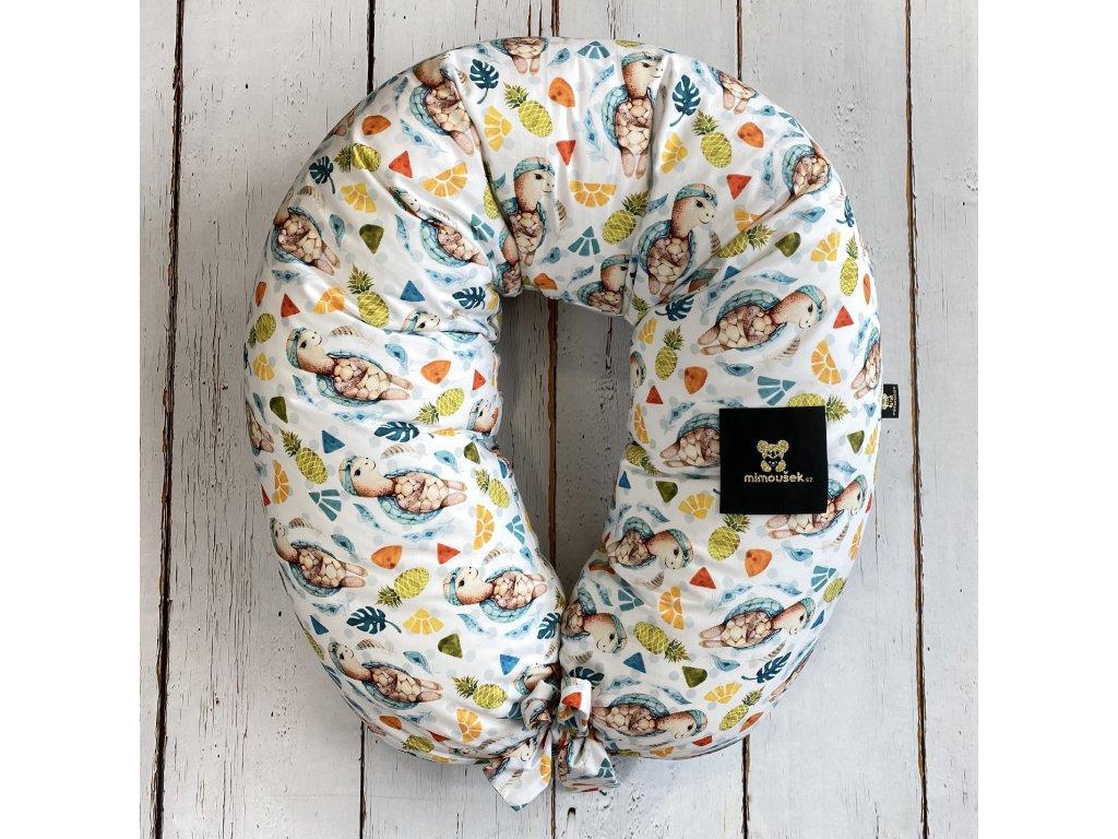 Kojící polštář MAXI printed želva s ananasem