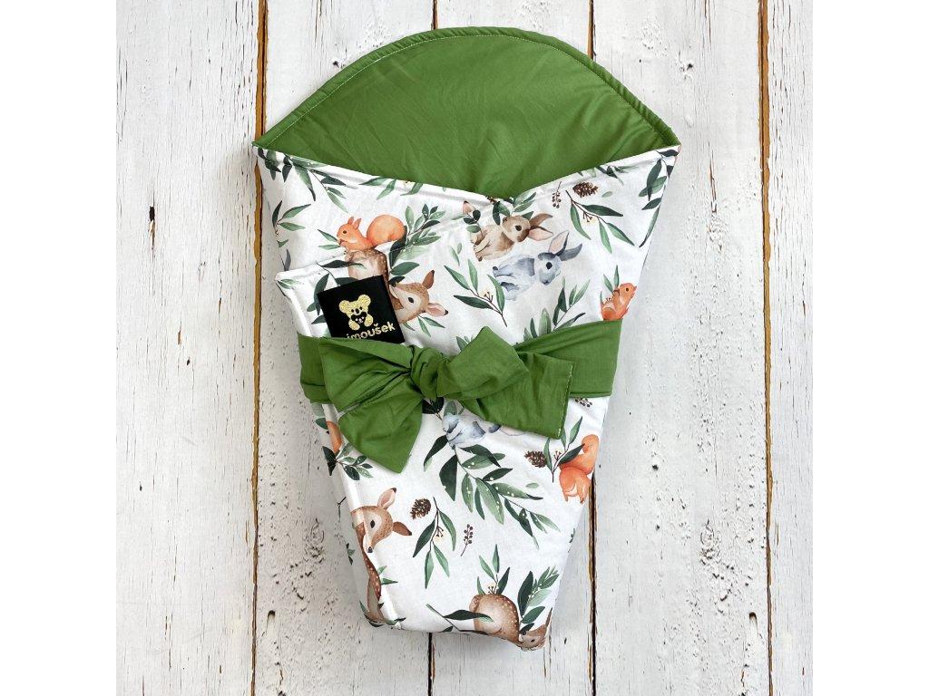 Lehká zavinovačka Mimoušek lesní zvířátka 3 zelená