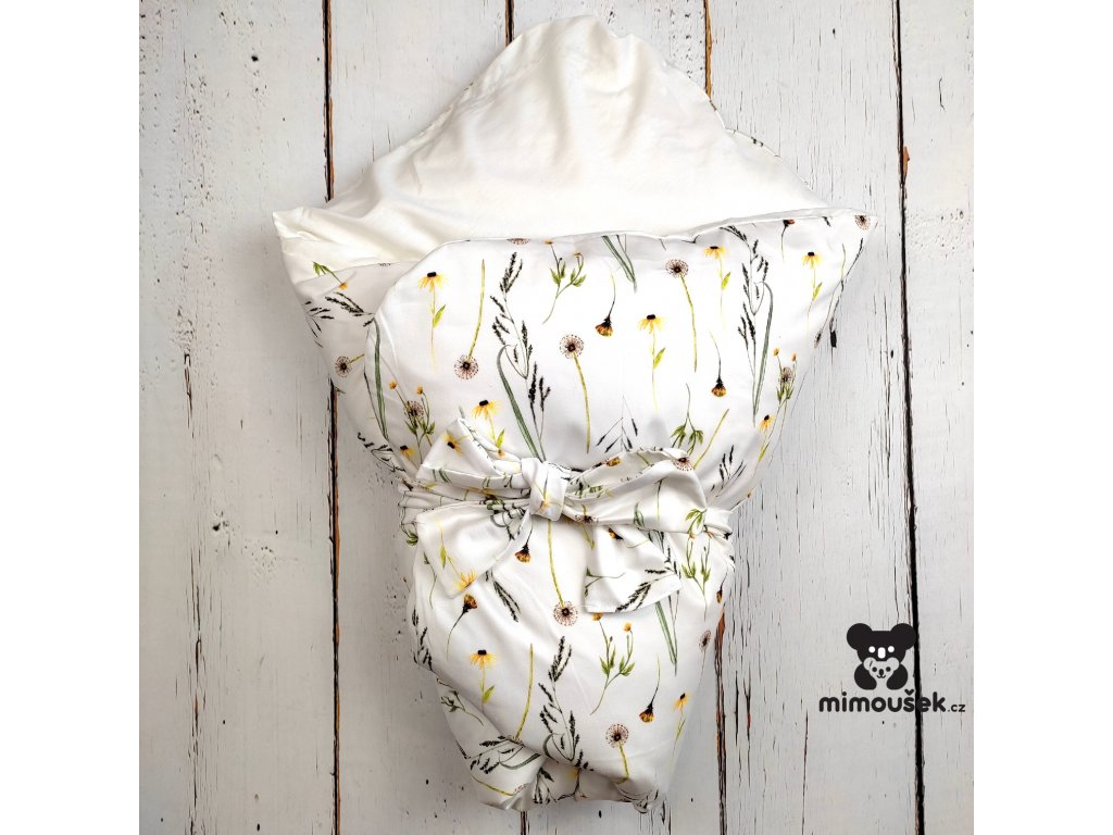 Péřová zavinovačka Mimoušek květiny 2 bílá