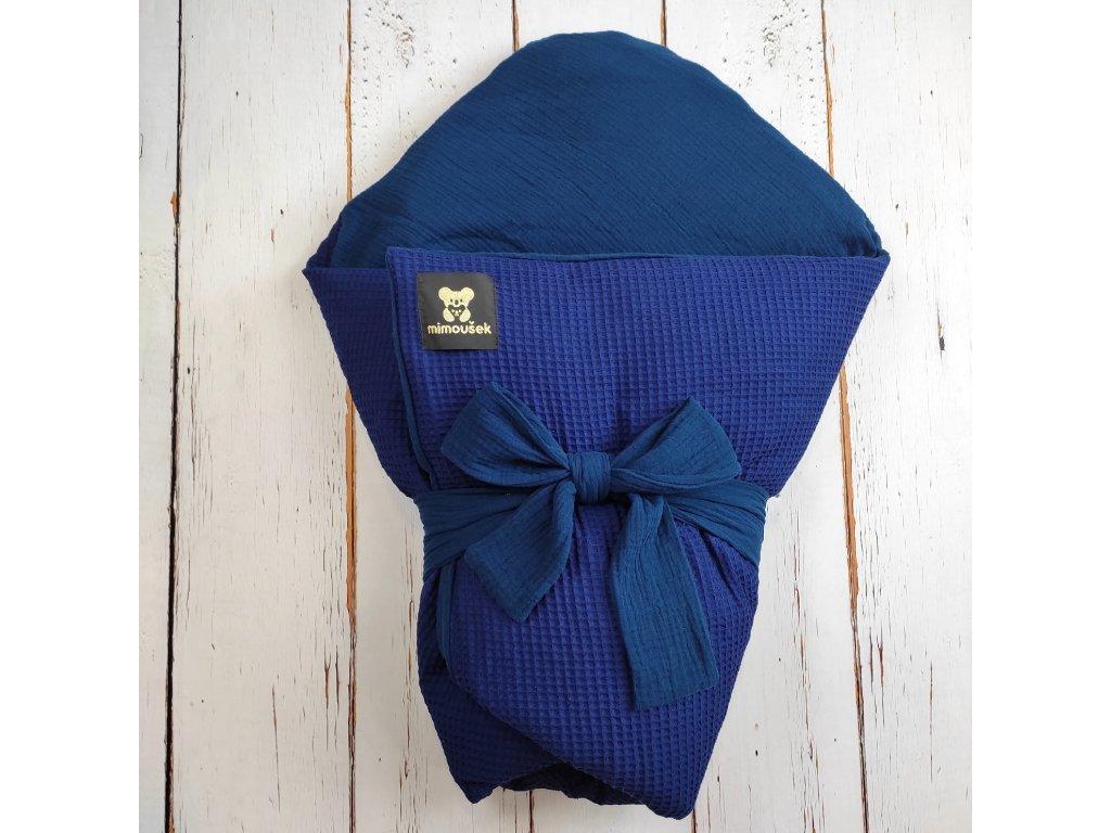 Péřová zavinovačka Mimoušek vafle královská modrá mušelín královská modrá