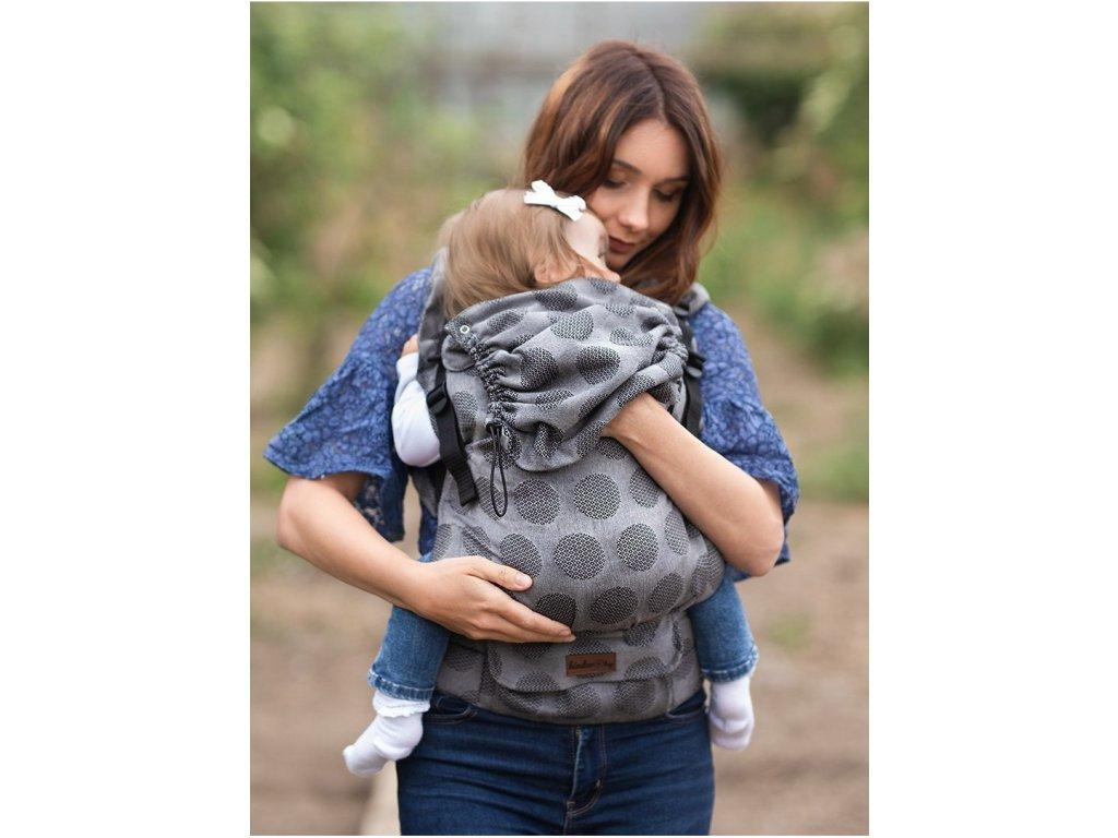 Kinder Hop Rostoucí ergonomické nosítko Multi Grow Dots Light Grey 100% bavlna, žakár