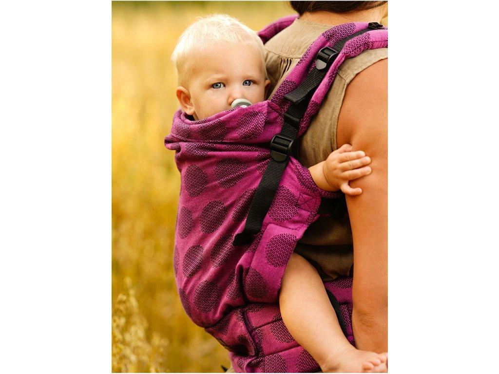 Kinder Hop Rostoucí ergonomické nosítko Multi Grow Dots Pink 100% bavlna, žakár