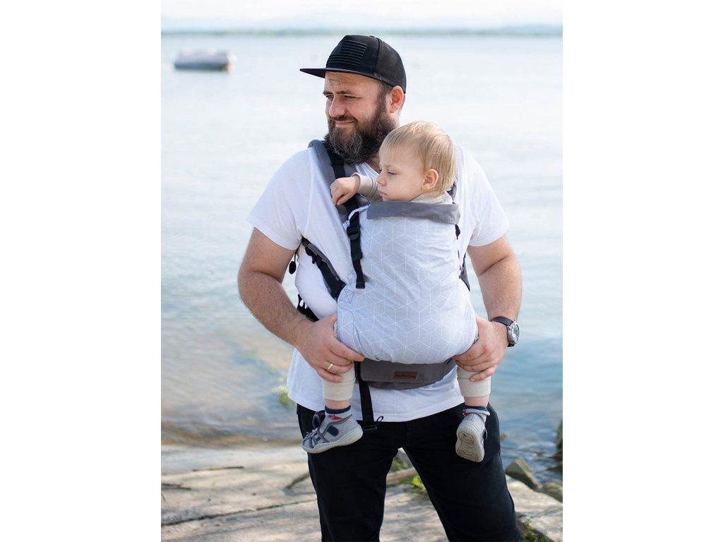 Kinder Hop Rostoucí ergonomické nosítko Multi Grow Grey Cube 100% bavlna