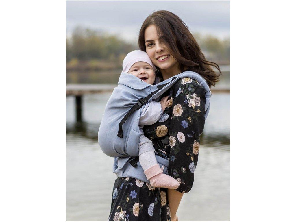 Kinder Hop Rostoucí ergonomické nosítko Multi Grow Little Herringbone Blue 100% bavlna, žakár