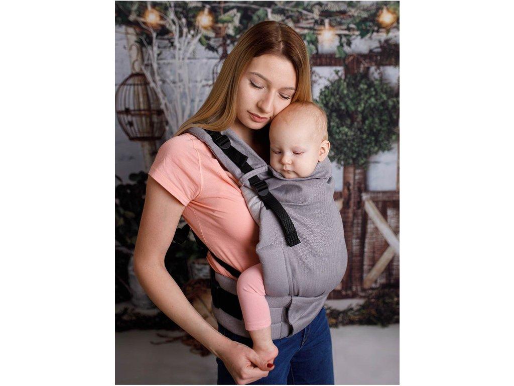 Kinder Hop Rostoucí ergonomické nosítko Multi Grow Little Herringbone Grey 100% bavlna, žakár