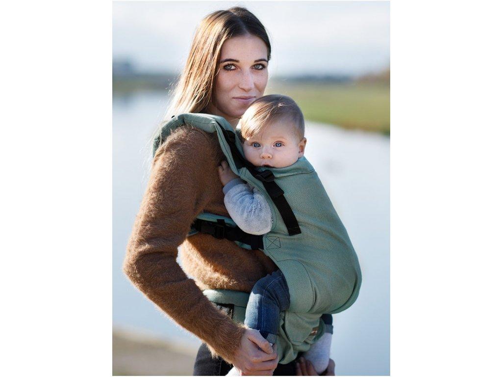 Kinder Hop Rostoucí ergonomické nosítko Multi Grow Little Herringbone Turquoise 100% bavlna, žakár