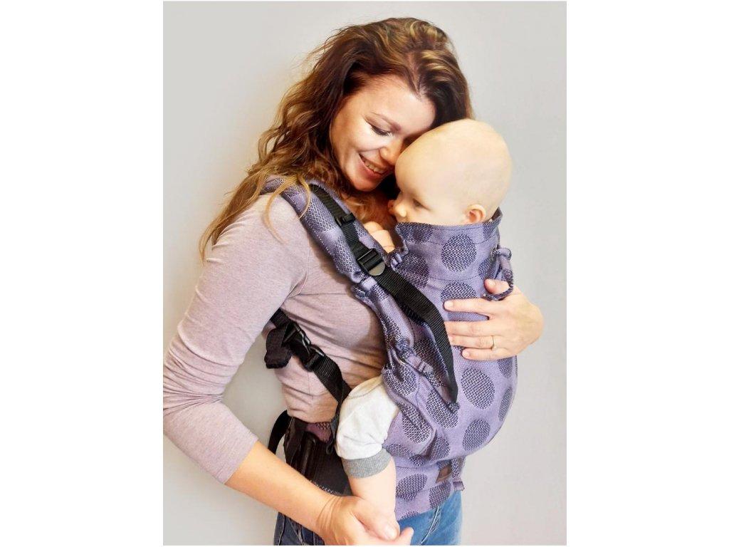 Kinder Hop Rostoucí ergonomické nosítko Multi Soft Dots Lavender Grey 100% bavlna, žakár