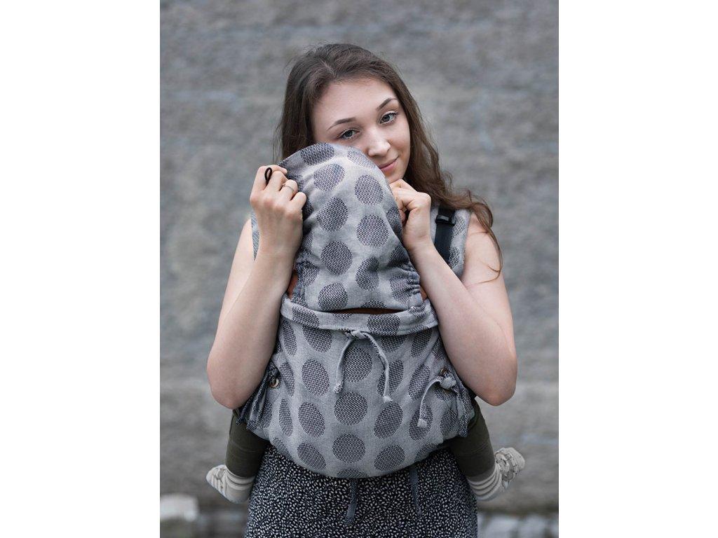 Kinder Hop Rostoucí ergonomické nosítko Multi Soft Dots Light Grey 100% bavlna, žakár