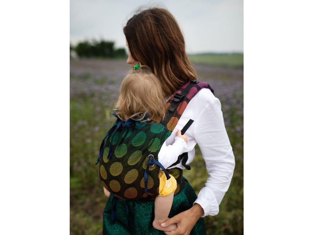 Kinder Hop Rostoucí ergonomické nosítko Multi Soft Dots Rainbow Grey 100% bavlna, žakár