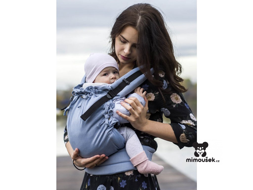 Kinder Hop Rostoucí ergonomické nosítko Multi Soft Little Herringbone Blue 100% bavlna, žakár